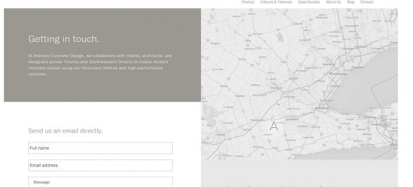 element in web design for architects_contact