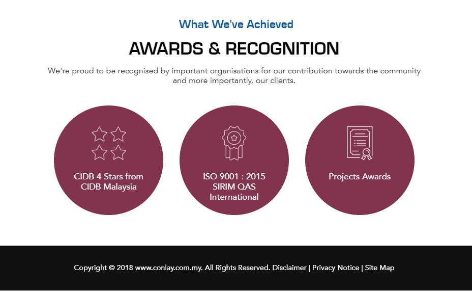 element web design for construction co_award recognition