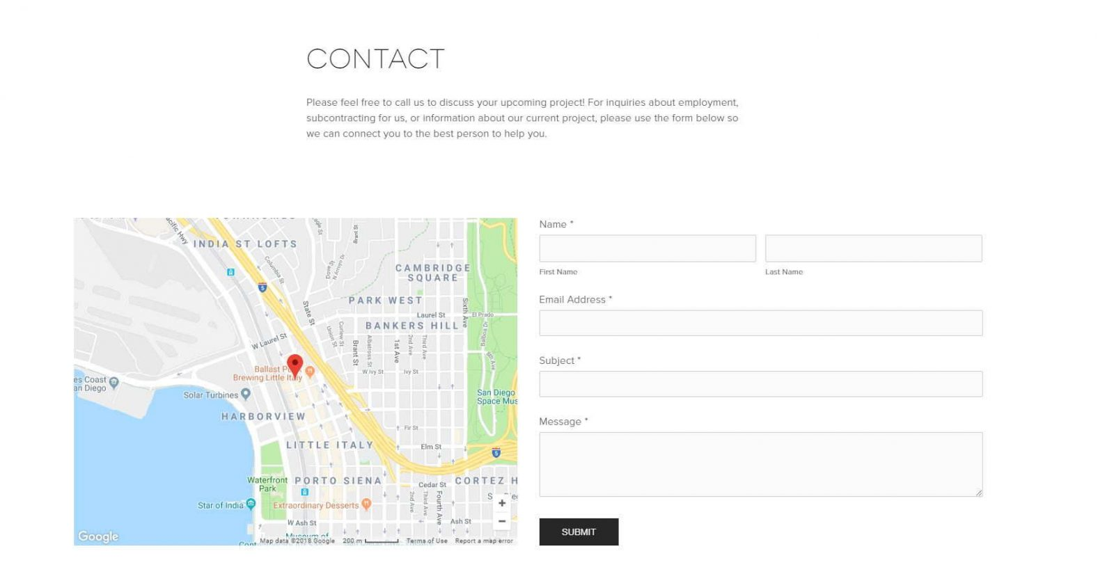 element web design for construction co_contact page