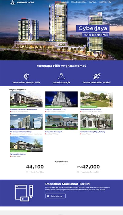 Angkasa Home Main Page Web Design