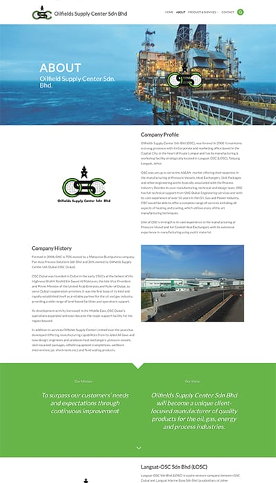 Oil Field Supply About Page Web Design