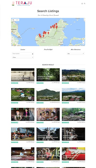 DCCI Teraju Homestay Search Page Web Design